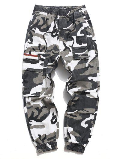 Letter Print Drawstring Multi Pockets Casual Pants - Acu Camouflage M
