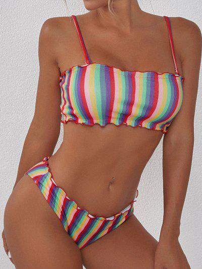ZAFUL Lettuce Trim Ribbed Rainbow Stripes Bikini Swimwear - Red L