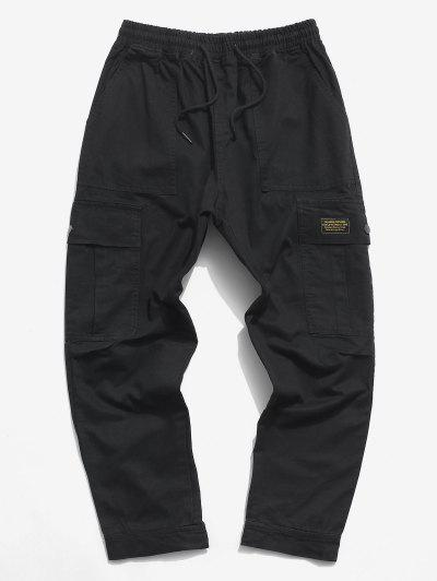 Letter Applique Hoop And Loop Detail Cargo Pants - Black Xs