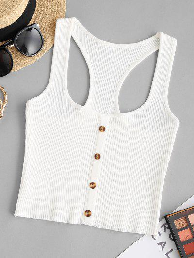 Racerback Button Front Knitted Crop Top - Milk White M