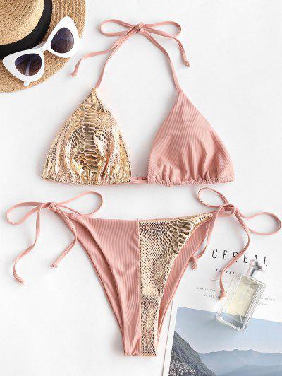 ZAFUL Bikini De Corte Alto Con Textura Acanalada - Rosa Claro S