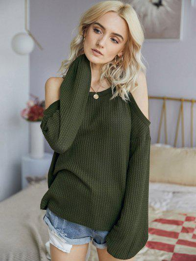Honeycomb Knit Open Shoulder Knitwear - Green M