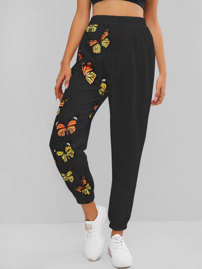 ZAFUL High Waisted Butterfly Print Elastic Cuff Pants - Black M
