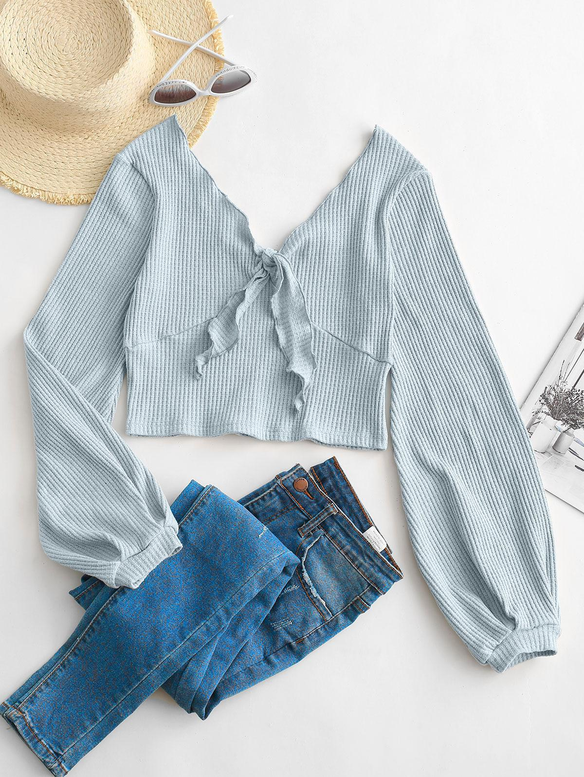 ZAFUL Ribbed Tie Front Heathered Top