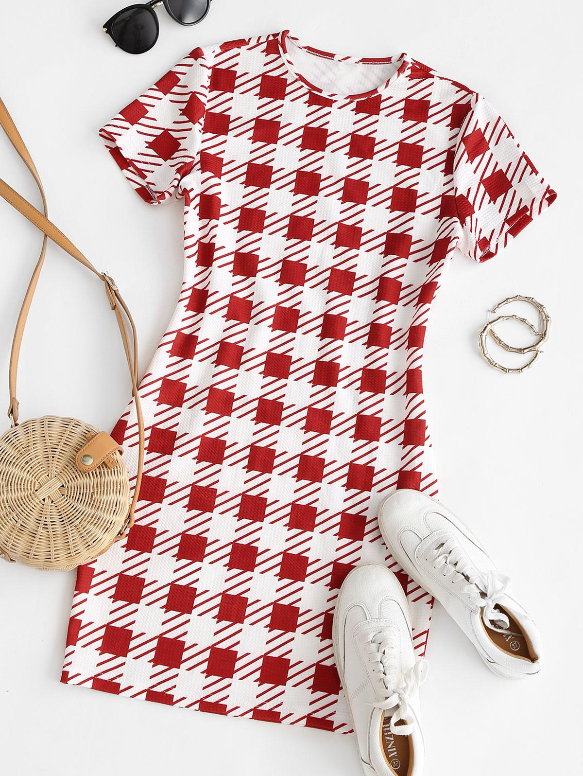 ZAFUL Plaid Textured Bodycon Mini Dress