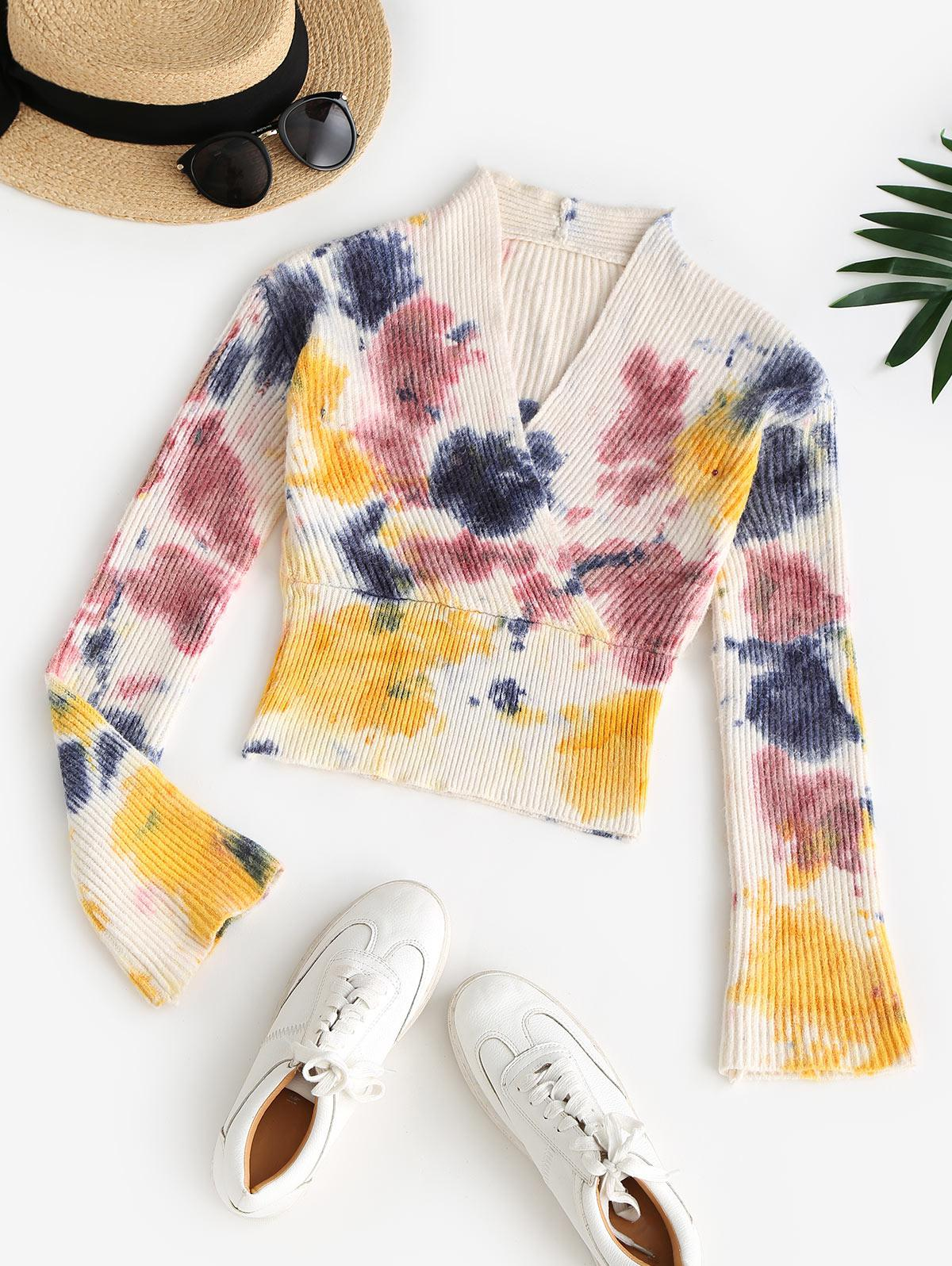 V Neck Tie Dye Surplice Sweater
