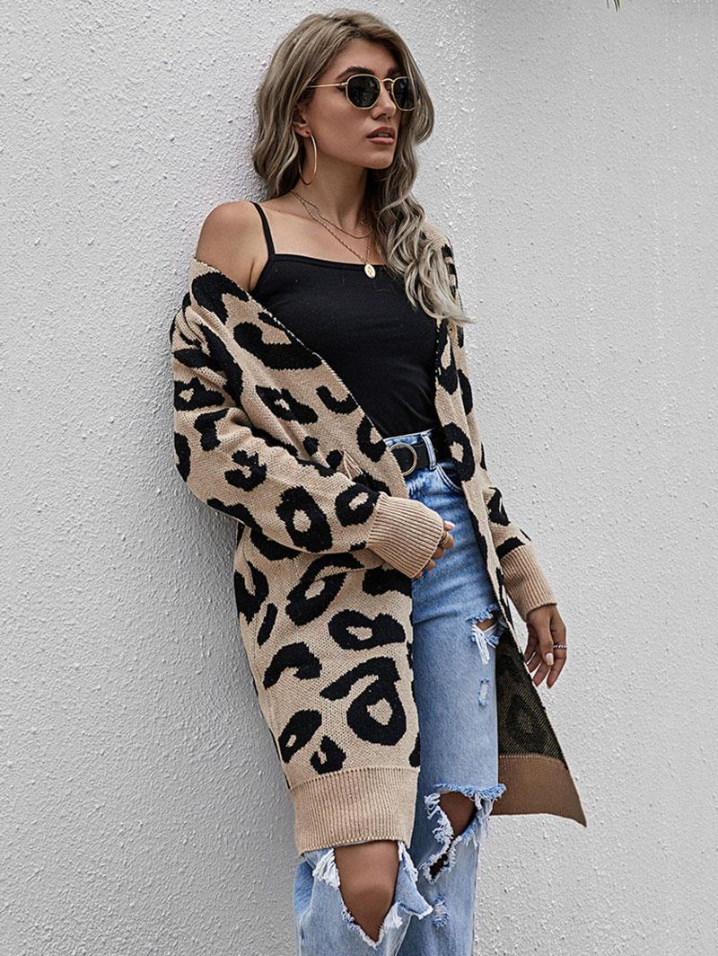 Leopard Drop Shoulder Open Front Cardigan