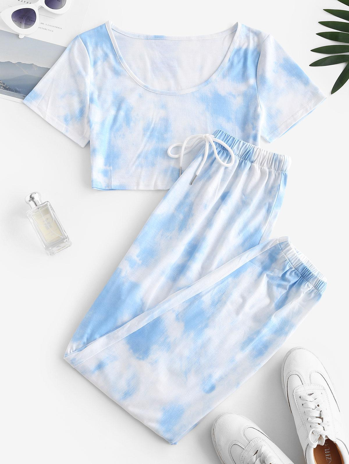 Tie Dye T-shirt and Drawstring Jogger Pants Set