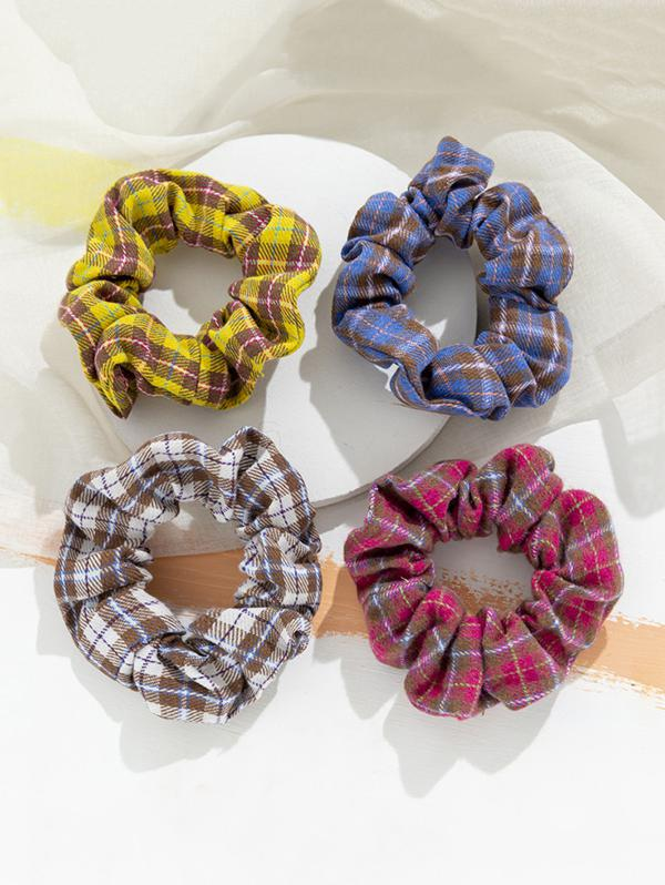 4 Piece Plaid Print Elastic Hair Scrunchies Set