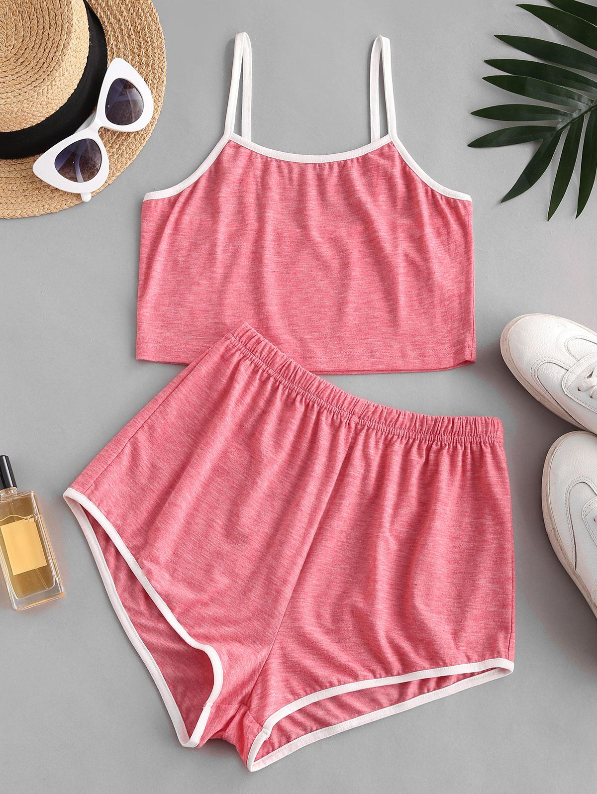 Cropped Contrast Piping Heathered Pajama Set