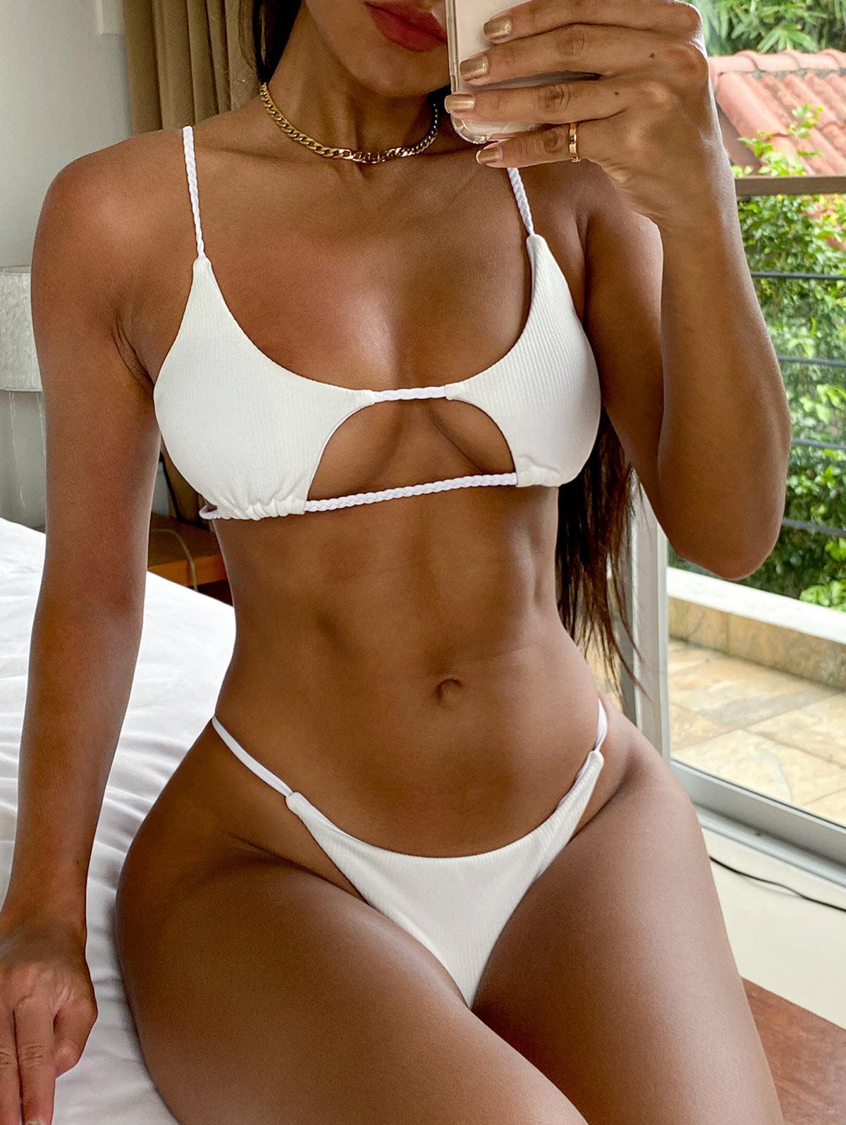 ZAFUL Ribbed Braided Cut Out Bikini Set