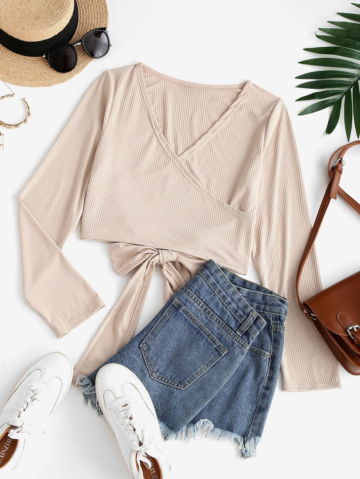 Cropped Ribbed Wrap Tee