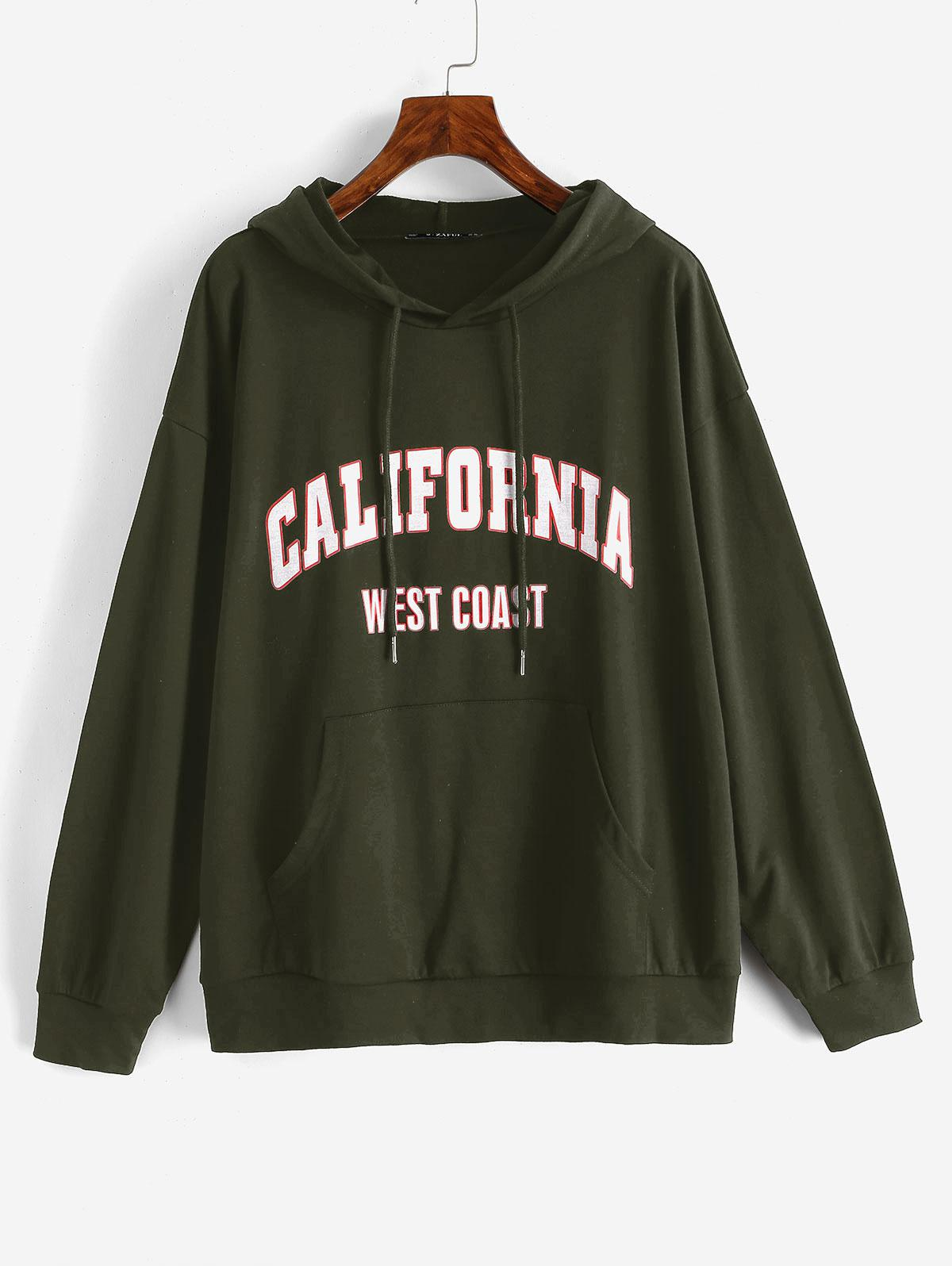 Drawtring WEST COAST Graphic Front Pocket Hoodie