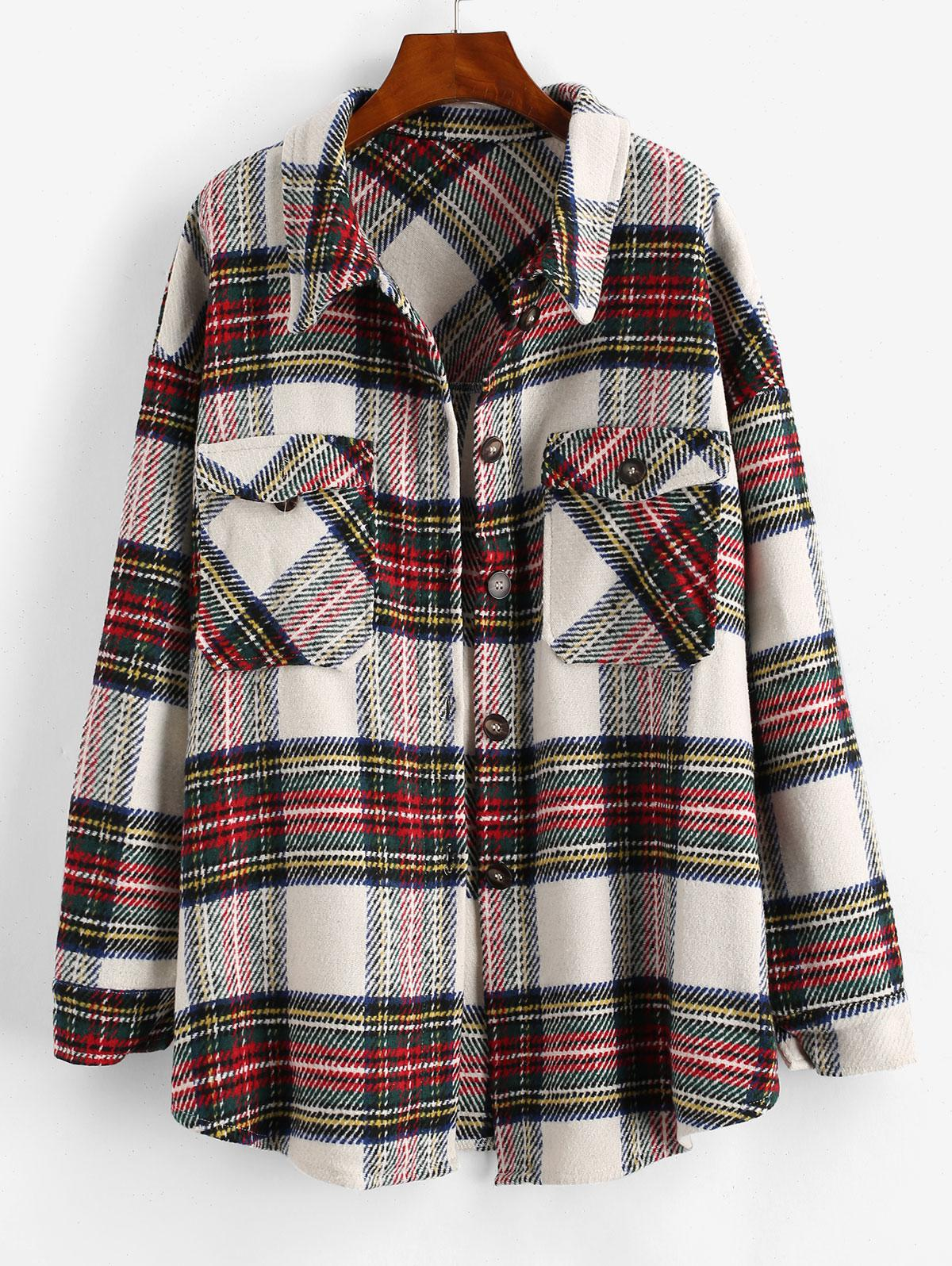 Checked Front Pocket Tweed Coat