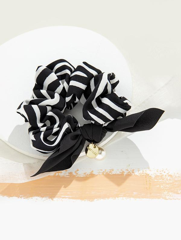Striped Faux Pearl Bowknot Scrunchy