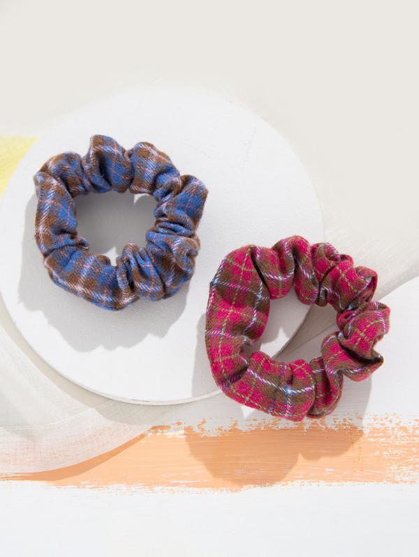 2 Piece Checked Elastic Hair Scrunchies Set