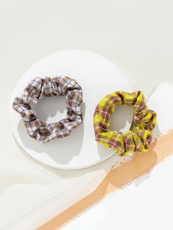 2 Piece Plaid Print Elastic Hair Scrunchies Set