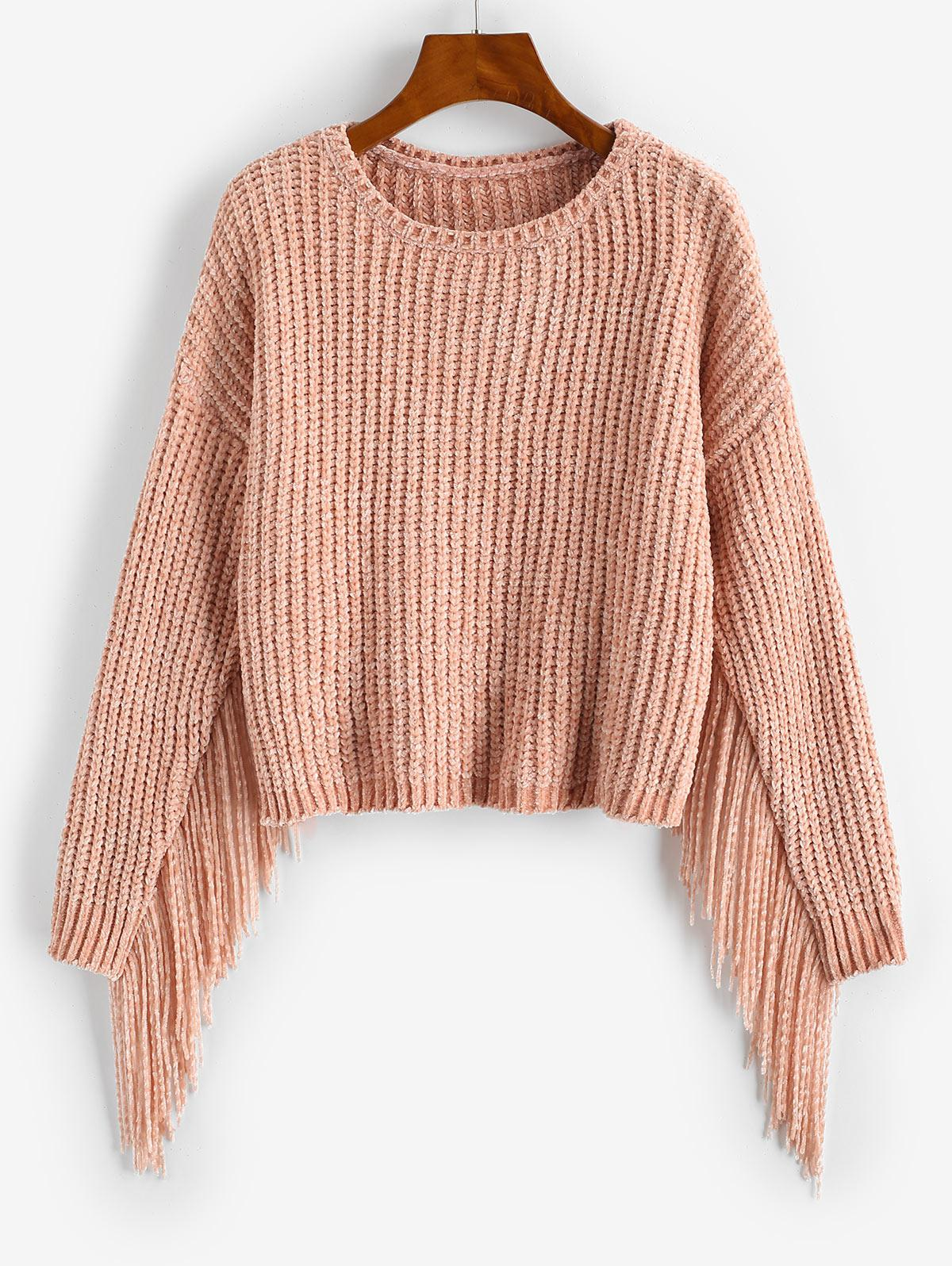 Fringed Chenille Drop Shoulder Sweater