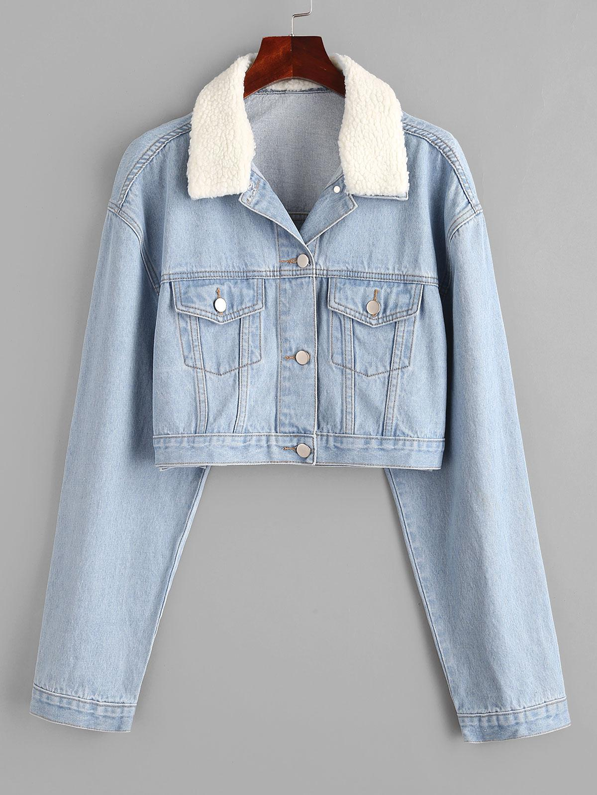 Drop Shoulder Teddy Faux Shearling Collar Denim Jacket