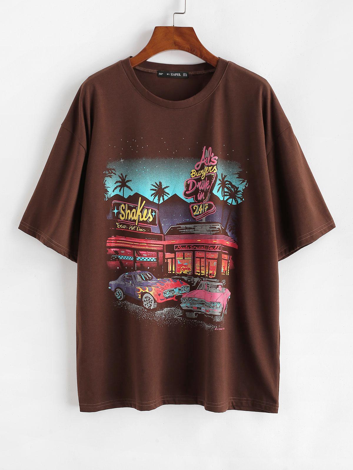 Drop Shoulder Letter Car Print Tunic T-shirt