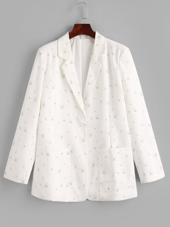 Ditsy Floral Patched Pockets One Buttoned Blazer - أبيض M