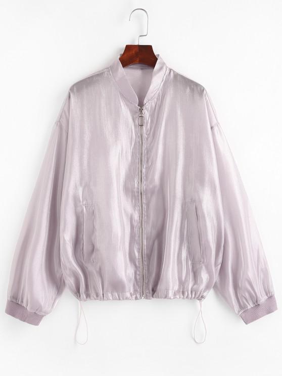 Reißverschluss Glitter Glänzende Jacke - Helles Lila M