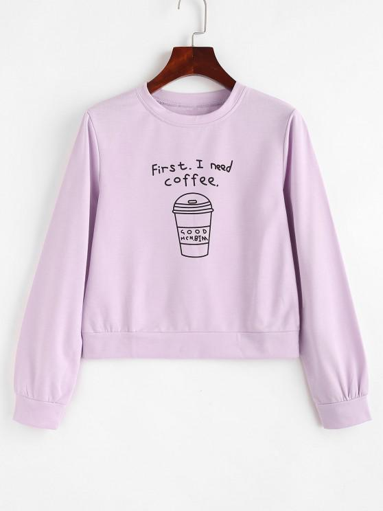 Pullover I Need Coffee Graphic Sweatshirt - ضوء ارجواني L