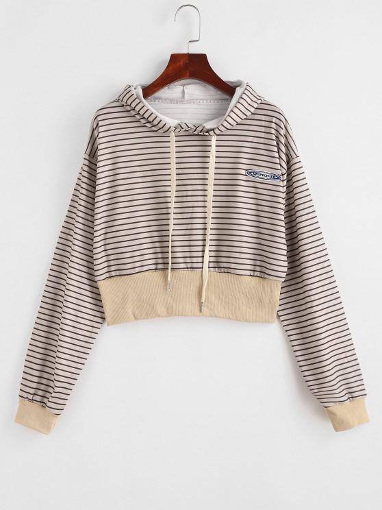 sale Drawstring Stripes Letter Patched Hoodie - LIGHT COFFEE S
