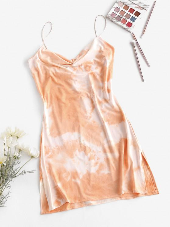 Wasserfallausschnitt Krawattenfärbendes Seitenschlitz Cami Kleid - Hell orange XL