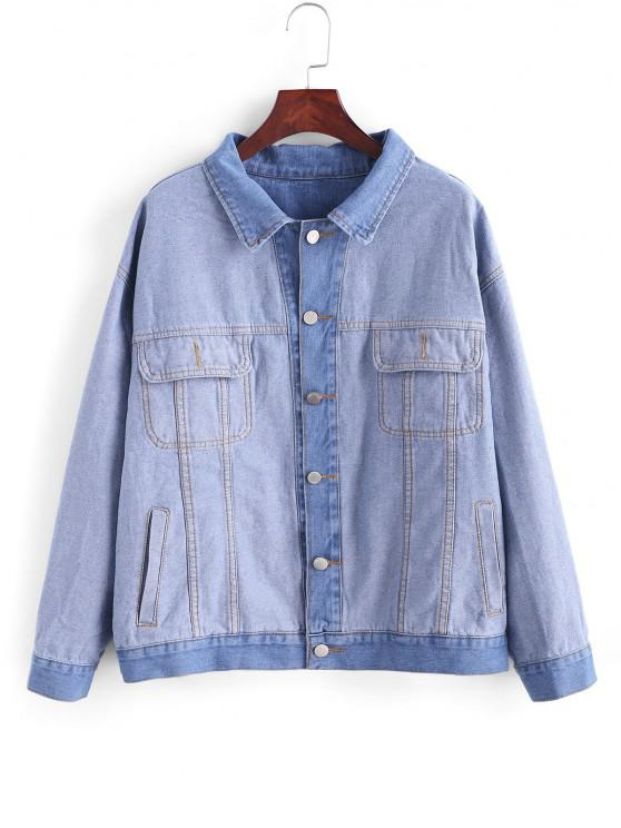 sale Loose Button Up Pockets Denim Jacket - BLUE GRAY S