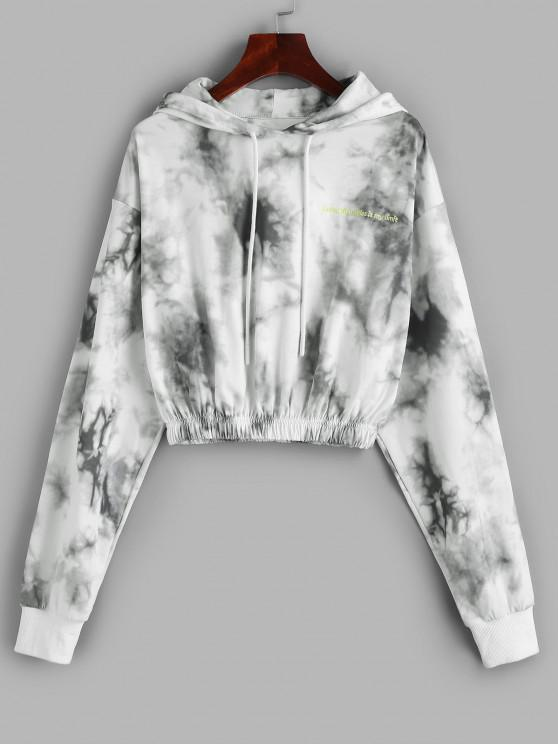 womens Drawstring Embroidered Tie Dye Hoodie - MILK WHITE S