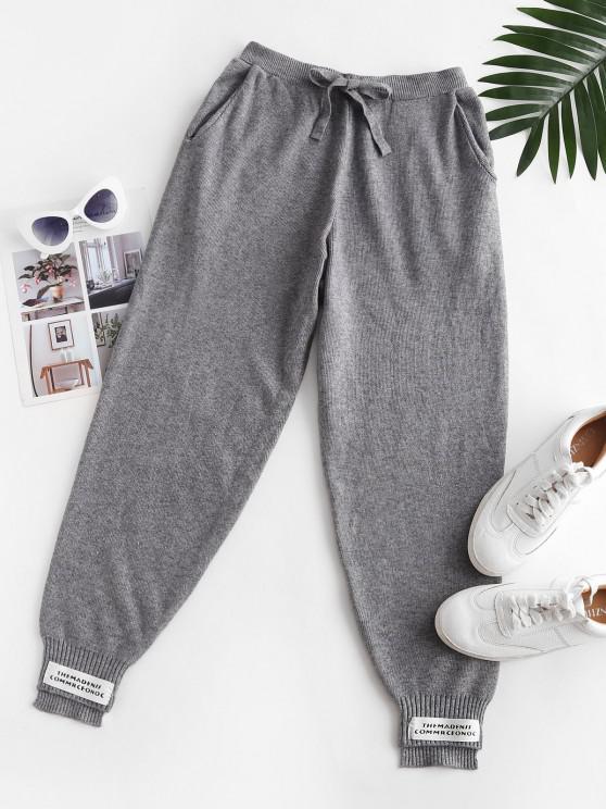 Pantalon Applique Tricoté Lettre à Ourlet en Echelle - Gris Taille Unique