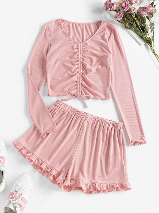 lady ZAFUL Ribbed Cinched Frilled Two Piece Shorts Set - LIPSTICK PINK S