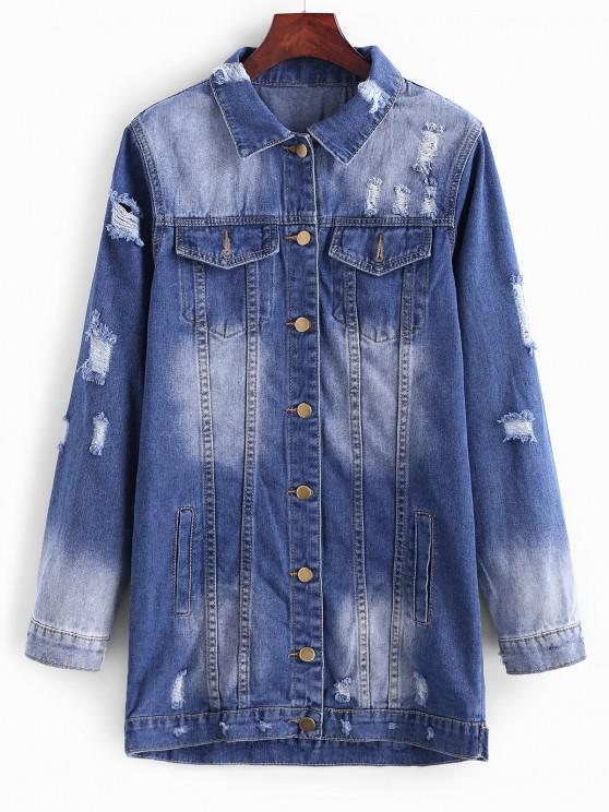 Longline Button Up Distressed Denim Coat - اللازورد الأزرق XL