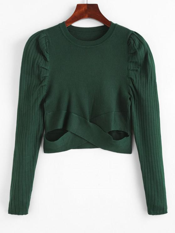 women Crew Neck Puff Sleeve Criss Cross Sweater - DEEP GREEN ONE SIZE