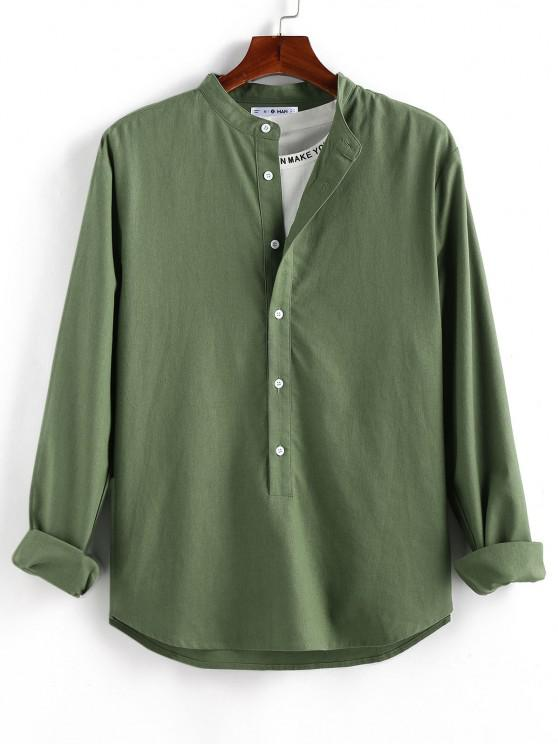 women's ZAFUL Solid Half Button Long Sleeve Shirt - DEEP GREEN 2XL