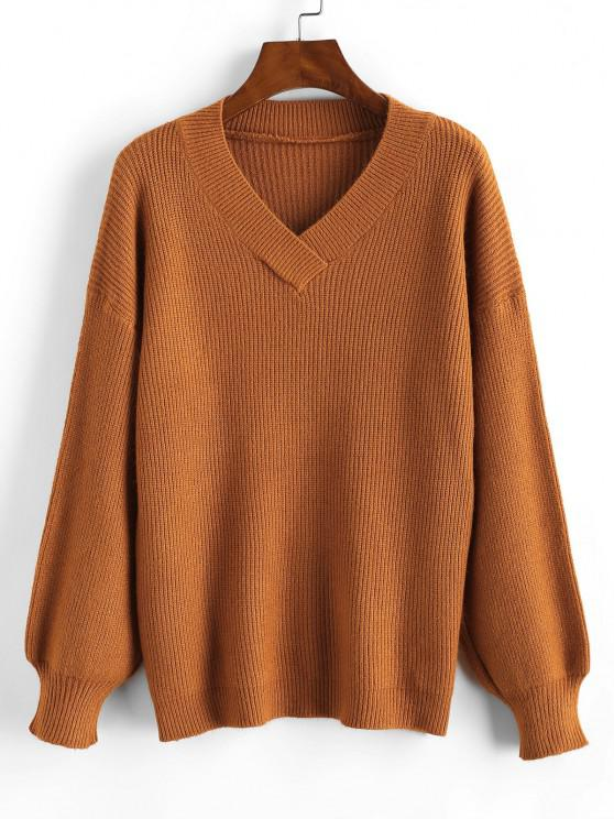 V Neck Basic Sweater - قهوة حجم واحد