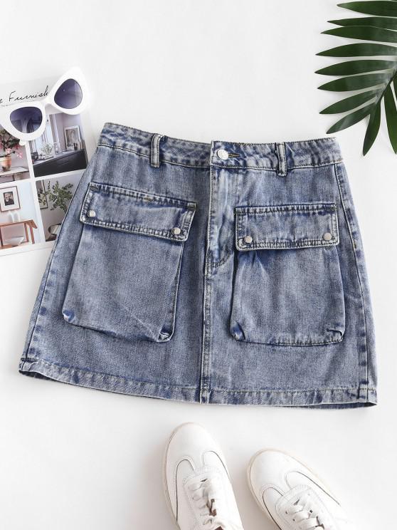 Flap Pockets Denim Cargo Skirt - لائحة الأزرق XS