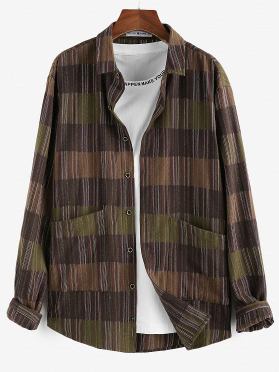 women ZAFUL Long Sleeve Stripes Pocket Button Up Shirt - DEEP COFFEE S