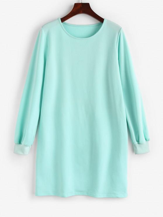 ZAFUL Long Sleeve Shift Sweatshirt Dress - أزرق فاتح XL