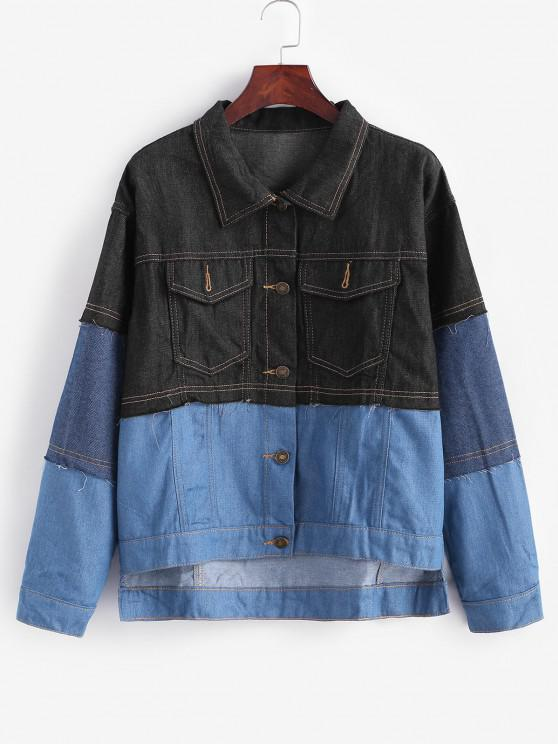 affordable Button Up Colorblock High Low Denim Jacket - BLUE GRAY XS