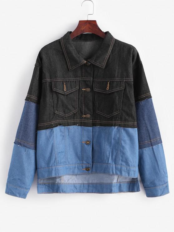 Jaqueta Jeans de Botão Bloco de Cores com Baixa - Cinza Azulado S