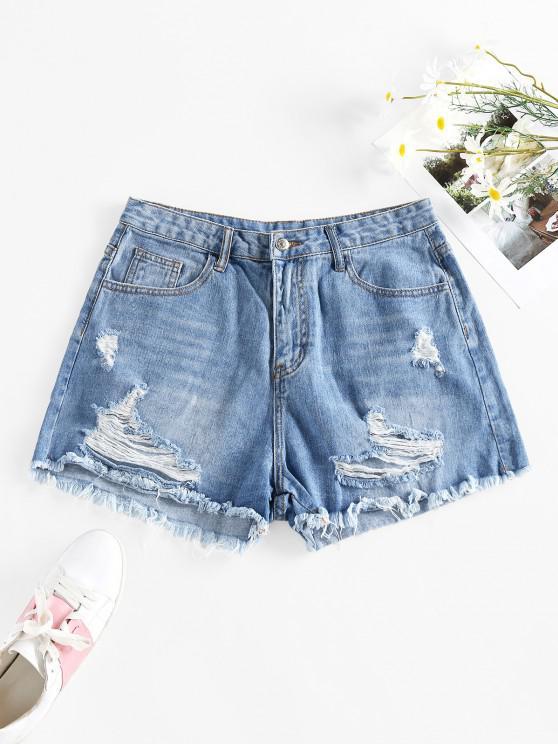 hot Cut Off Ripped Denim Shorts - BLUE L