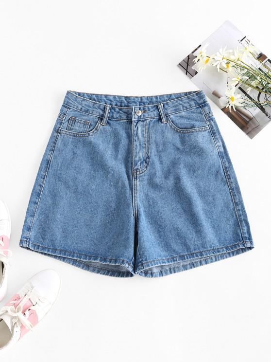 ZAFUL High Waist Wide Leg Denim Shorts - أزرق M