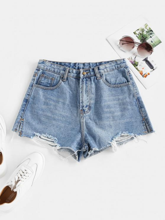 fashion Ripped Cut-off Denim Shorts - BLUE S