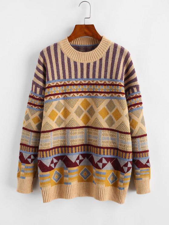 Drop Shoulder Crew Neck Geometric Graphic Sweater - متعددة-A حجم واحد