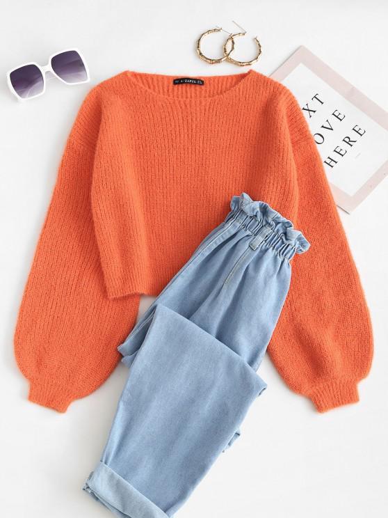 ladies Lantern Sleeve Fuzzy Sweater - ORANGE S