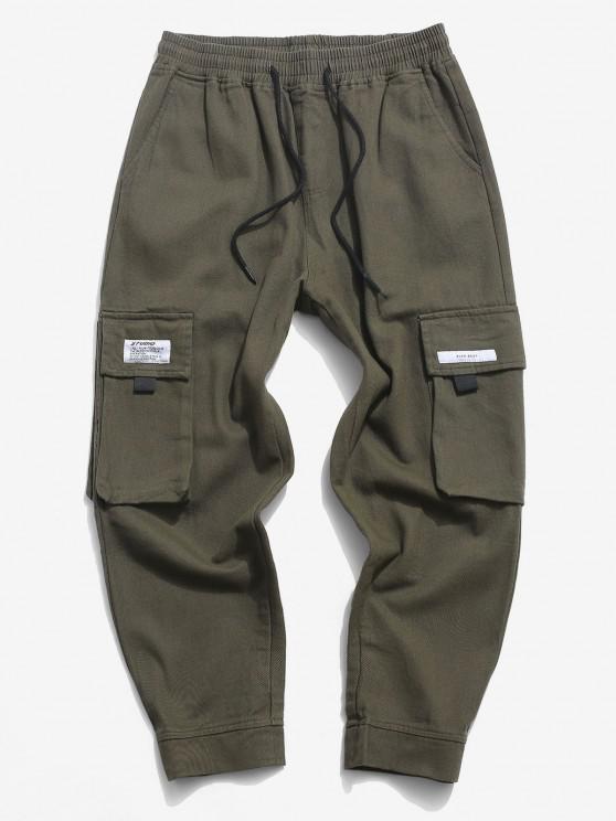 Letter Applique Multi Pockets Casual Pants - الجيش الأخضر S