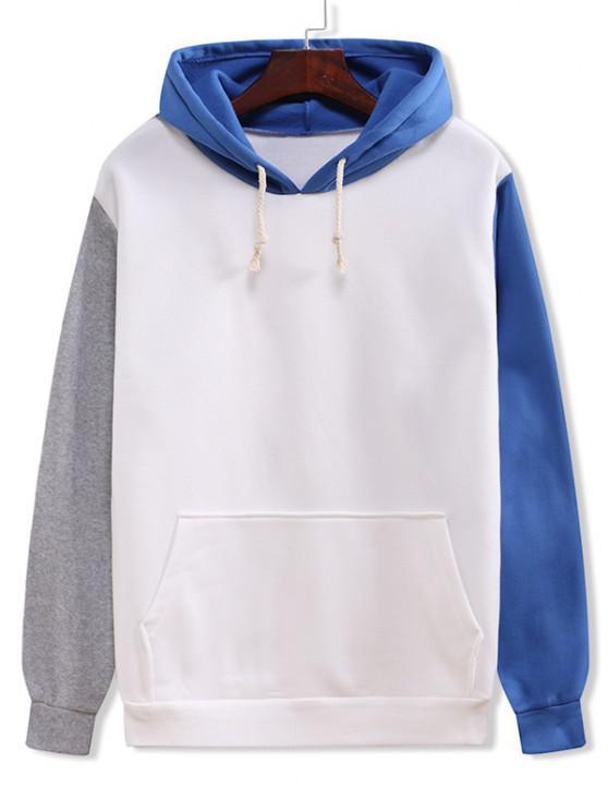 sale Color Blocking Panel Flocking Kangaroo Pocket Hoodie - WHITE 2XL