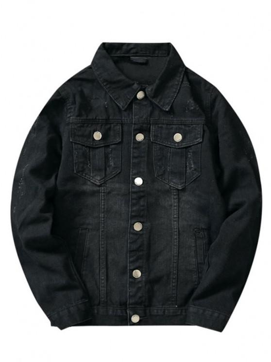 Front Pockets Scratch Button Up Jean Jacket - أسود XS